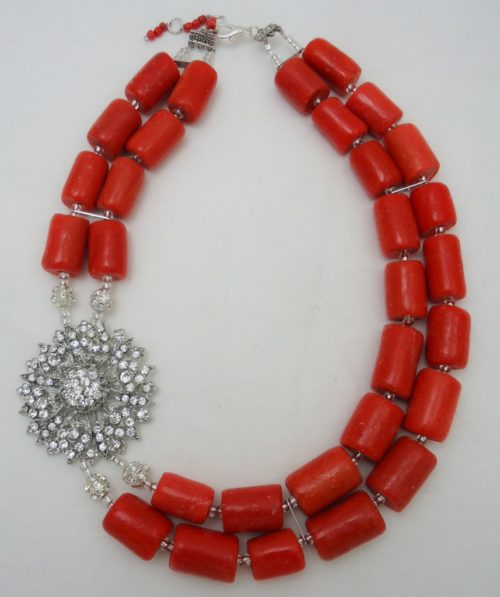 Nigerian Wedding beads, coral necklace, nigerian engagement beads, Nigerian traditional wedding beads, Coral Jewelry sets, beaded statement necklace, multistrand beaded necklace
